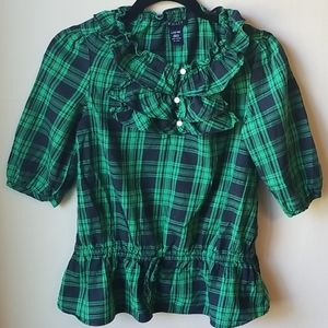 Chaps light flannel shirt in green plaid, 12-14
